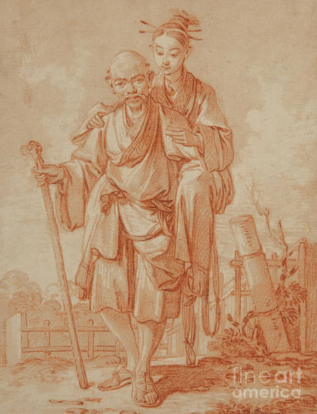Wall Art - Pastel - Chinese Couple In A Landscape by Francois Boucher
