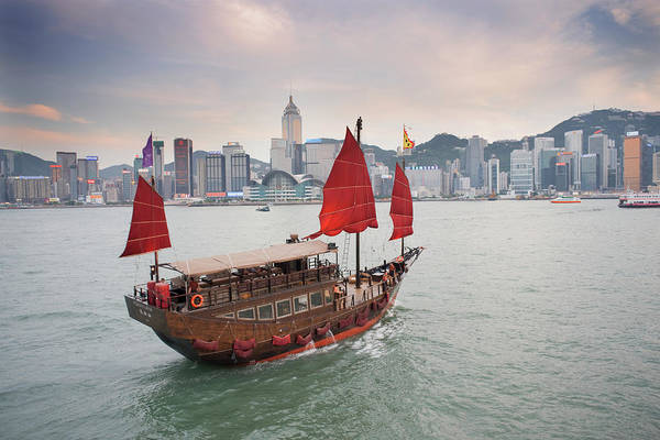 Photograph - Chinese Junk In Harbour by Travelpix Ltd