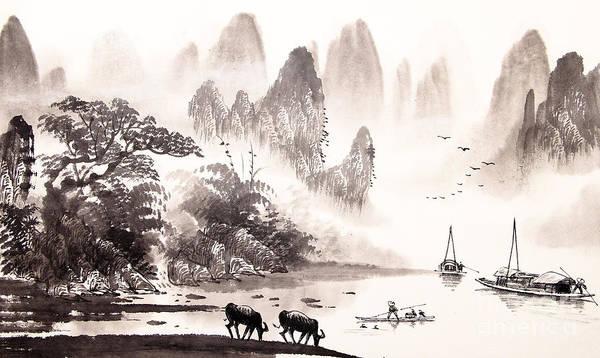 Sumi Wall Art - Digital Art - Chinese Landscape Watercolor Painting by Baoyan