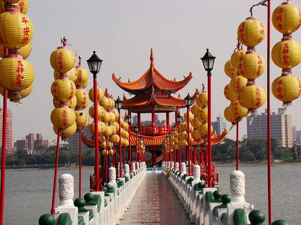 Taiwanese Wall Art - Photograph - Chinese Lights In A Road To A Pagoda by Carolina Arai