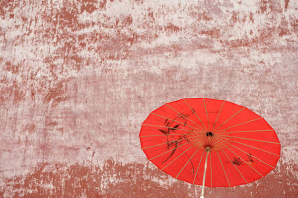Parasol Photograph - Chinese Parasol Against A Textured Wall by Shanna Baker