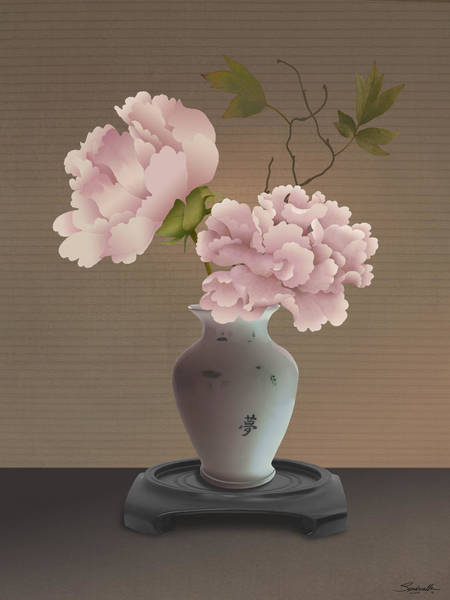 Mixed Media - Chinese Pink Peonies In Vase by Spadecaller