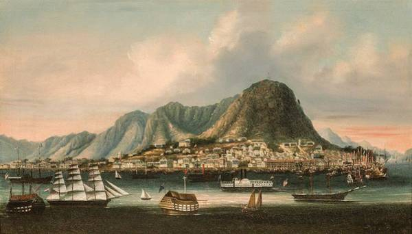Wall Art - Painting - Chinese School Chinese  1775-1900 Hong Kong And Victoria Peak Circa 1855 by Celestial Images