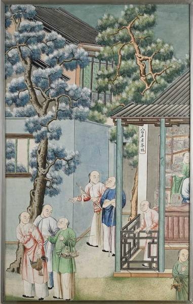 Wall Art - Painting - Chinese School, Depicting Several Men In A Courtyard, A Small Store With Sign  The Tea Forest At Bai by Celestial Images