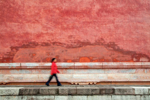 Chinese Clothing Wall Art - Photograph - Chinese Young Lady Walking By Monument by Grant Faint