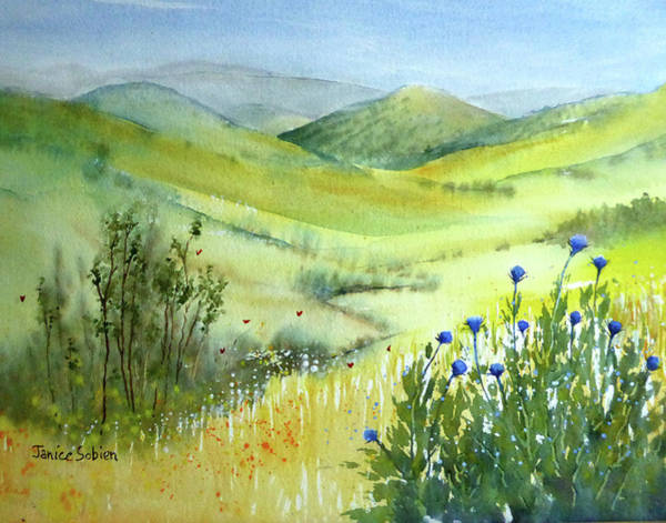 Mustard Field Painting - Chino Hills With Mustard And Thistle by Janice Sobien