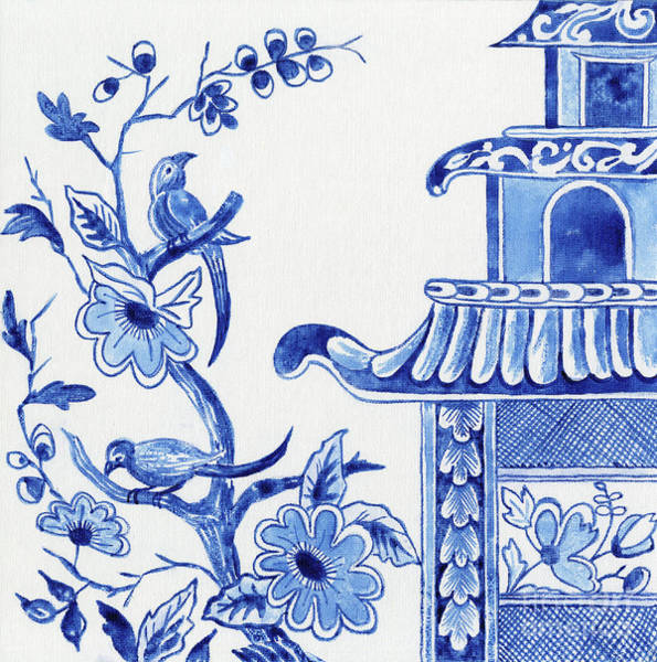 Wall Art - Painting - Chinoiserie Blue And White Birds In Flowering Tree And Pagoda by Audrey Jeanne Roberts