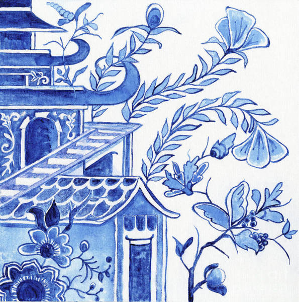 Wall Art - Painting - Chinoiserie Blue And White Pagoda Floral 1 by Audrey Jeanne Roberts