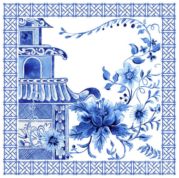 Wall Art - Painting - Chinoiserie Blue And White Pagoda With Stylized Flowers And Chinese Chippendale Border by Audrey Jeanne Roberts