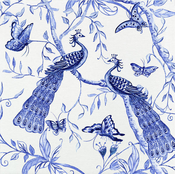 Wall Art - Painting - Chinoiserie Blue And White Peacocks And Butterflies by Audrey Jeanne Roberts