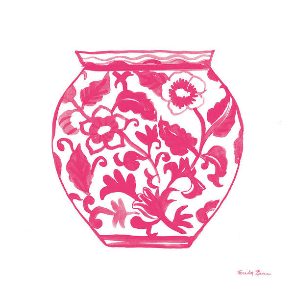 Ceramics Wall Art - Painting - Chinoiserie I Pink by Farida Zaman