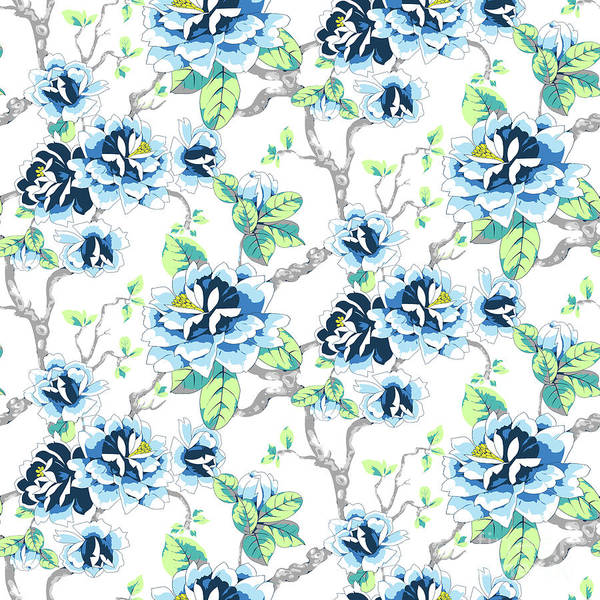 Digital Art - Chinoiserie Ming Style Blue Floral On White Spring Flowers by Sharon Mau