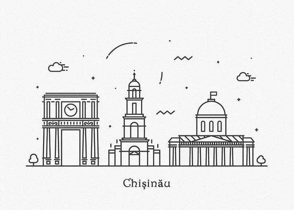 Landmark Center Drawing - Chisinau Cityscape Travel Poster by Inspirowl Design
