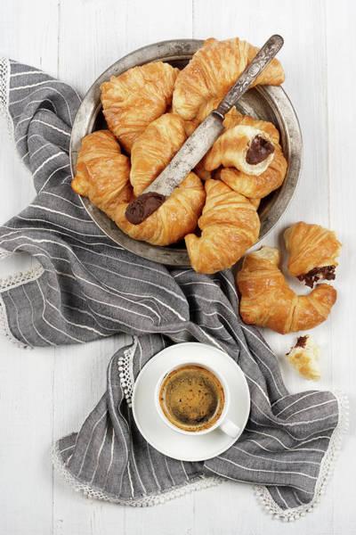 Napkin Photograph - Chocolate Croissants by Claudia Totir