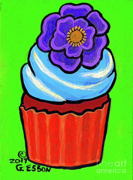 Icing Painting - Chocolate Cupcake With Purple Flower by Genevieve Esson