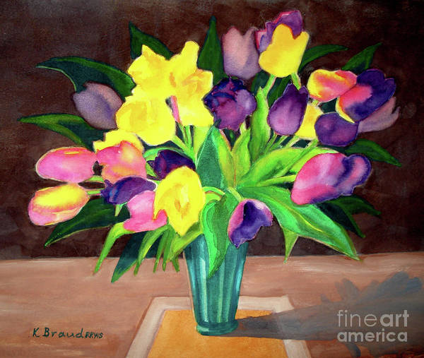 Wall Art - Painting - Chocolate Tulips Square by Kathy Braud