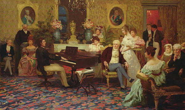 Piano Player Painting - Chopin Playing The Piano In Prince Radziwills Salon by Hendrik Siemiradzki