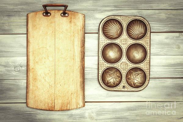 Wall Art - Photograph - Chopping Board And Baking Tin by Amanda Elwell