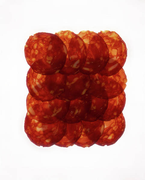 Raw Meat Photograph - Chorizo Slices, Close Up by Tastyart Ltd Rob White
