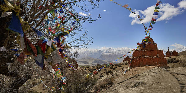 Wall Art - Photograph - Chortens And Prayer Flags With Mountain by Panoramic Images