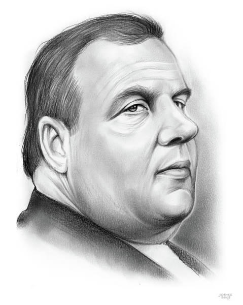 Wall Art - Drawing - Chris Christie by Greg Joens