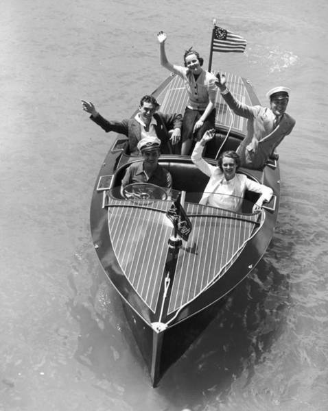 Usa Flag Photograph - Chris-craft by Camerique Archive