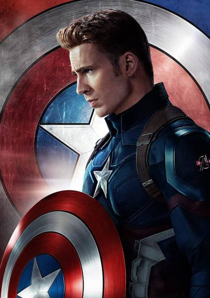 Wall Art - Digital Art - Chris Evans Captain America  Avengers by Geek N Rock