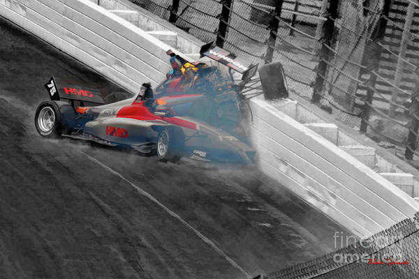 Photograph - Chris Windom And David Malukas Crash Indy Lights Freedom 100 by Blake Richards