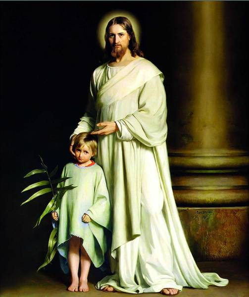 Wall Art - Painting - Christ And The Child , Carl Bloch by Celestial Images