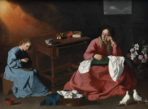 Golgotha Painting - Christ And The Virgin In The House At Nazareth, 1640 by Francisco de Zurbaran