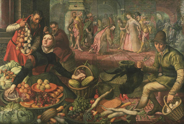 Wall Art - Painting - Christ And The Woman Taken In Adultery by Pieter Aertsen