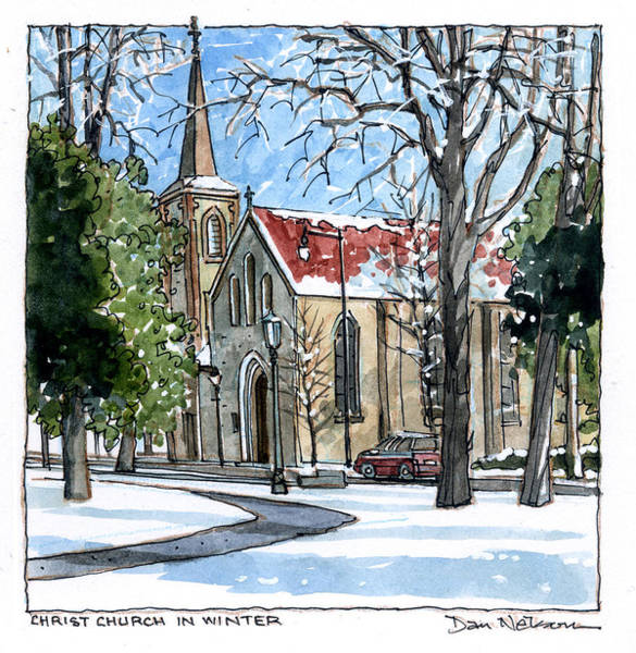 Wall Art - Painting - Christ Church In Blanket Of Snow by Dan Nelson