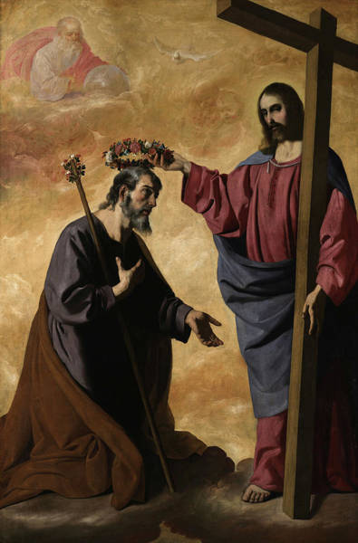 Wall Art - Painting - Christ Crowning Saint Joseph, 1640 by Francisco de Zurbaran