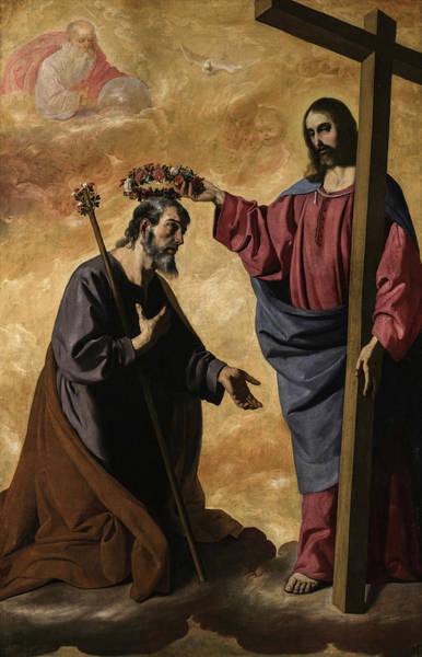 Wall Art - Painting - Christ Crowning Saint Joseph by Francisco de Zurbaran