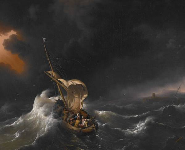 Wall Art - Painting - Christ In The Storm On The Sea Of Galilee 1695 Ludolf Backhuysen by Celestial Images
