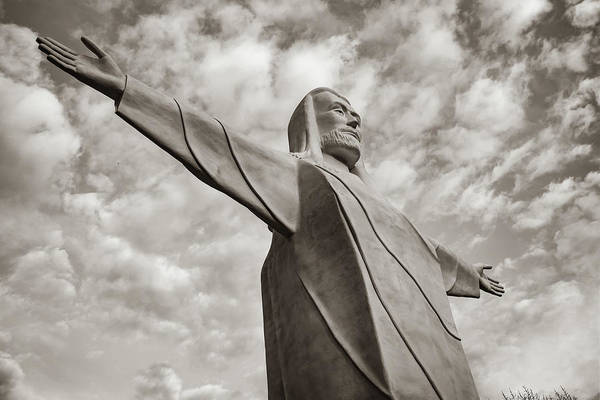 Photograph - Christ Of The Ozarks - Eureka Springs Arkansas In Sepia by Gregory Ballos