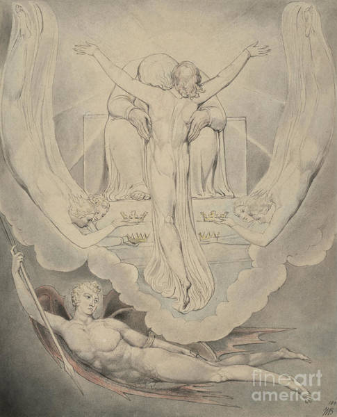 Redemption Painting - Christ Offers To Redeem Man by William Blake