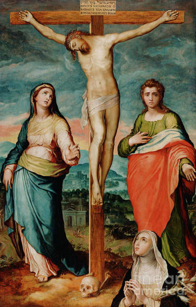 Wall Art - Painting - Christ On The Cross With Saints Mary, John The Evangelist And Catherine Of Siena by Marco Pino