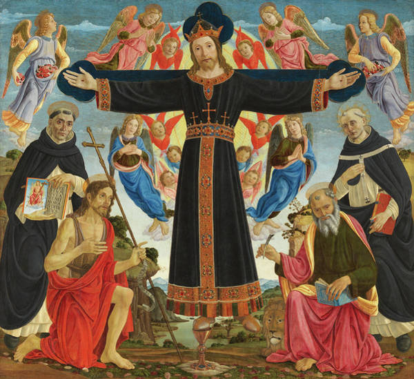 Jesus Of Nazareth Wall Art - Painting - Christ On The Cross With Saints Vincent Ferrer, John The Baptist, Mark And Antoninus, 1495 by Master of the Fiesole Epiphany