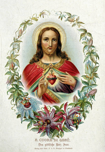 Wall Art - Painting - Christ Showing His Sacred Heart by American School