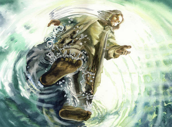 Novelties Painting - Christ Walking On The Sea  by Natalia Stasishina