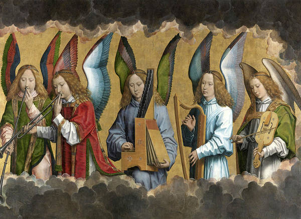 Wall Art - Painting - Christ With Singing And Music-making Angels - Panel 2 by Hans Memling