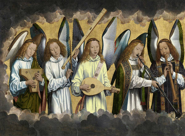 Wall Art - Painting - Christ With Singing And Music-making Angels - Panel 3 by Hans Memling