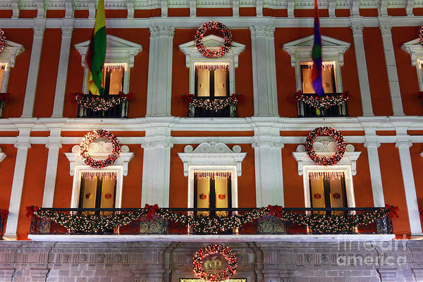 Photograph - Christmas Decorations On Presidential Palace La Paz by James Brunker