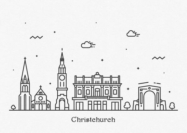 Landmark Center Drawing - Christchurch Cityscape Travel Poster by Inspirowl Design