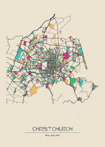 Wall Art - Drawing - Christchurch, New Zealand City Map by Inspirowl Design