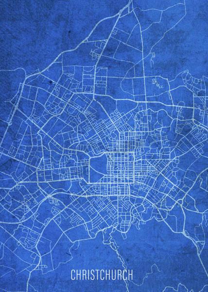 Wall Art - Mixed Media - Christchurch New Zealand City Street Map Blueprints by Design Turnpike