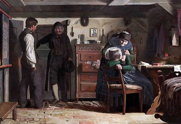 Wall Art - Painting - Christen Dalsgaard 1824-1907 Copenhagen The Village Carpenter Bringing A Coffin For A Dead Child The by Celestial Images
