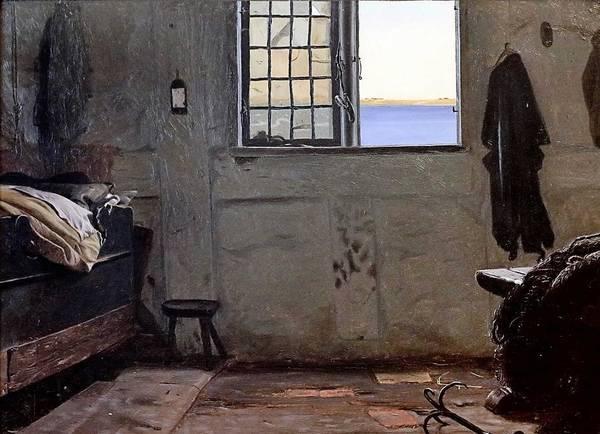 Wall Art - Painting - Christen Dalsgaard 1824-1907. Copenhague Chambre D'un Pecheur A Fisherman's Bedroom 1853 by Celestial Images
