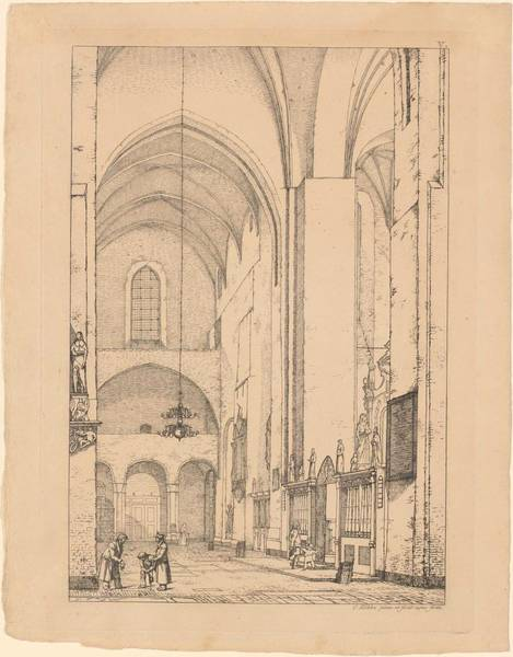 Wall Art - Painting - Christen Kobke 1810-1848 Interior Of Aarhus Cathedral by Celestial Images